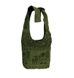 Kathmandu Imports Cotton Hobo Bag-'Elephant Family', Green