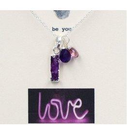 BU Jewelry Necklace-BU LOVE, Druzy, Amethyst & Pink Tourmaline