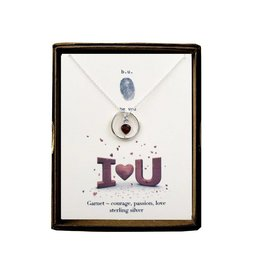 BU Jewelry Necklace-BU I LOVE YOU, Garnet