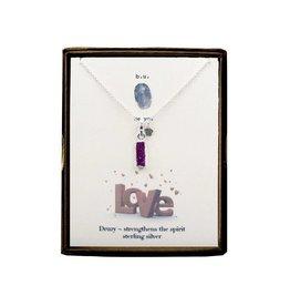 BU Jewelry Necklace-BU PURPLE HEARTS, Druzy