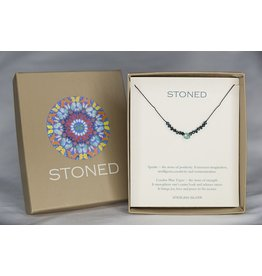 BU Jewelry Necklace-BU Stoned Apatite & London Blue, Topaz Silk Cord
