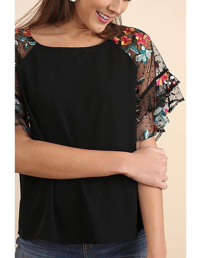 Umgee USA Top-Floral Emb Raglan Sleeves