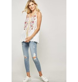 Andree by Unit Top-Circle Neck, Flowy Vest Style, Floral Emb