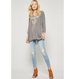 Andree by Unit Top-Tunic w/Emb Front & Paisley Print on Back