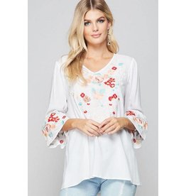 Andree by Unit Top-Tunic w/Emb Front & Bell Sleeves