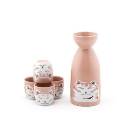Sake Set-Porcelain 'Happy Cat' (5pc) PINK
