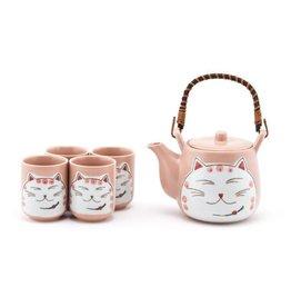 Tea Set-Porcelain 'Happy Cat' Pink (6pc)