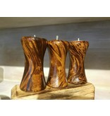 Circa Home 55 Curved Mango Wood Candle Holder-Brown Marble