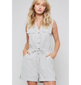 Promesa Romper-Sleeveless, Button Down Stripe,