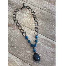 "Lula n Lee Necklace-20"" Blue Raspberry Agate w/Crystal Pendant"