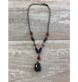 "Lula n Lee Necklace-16"" Carnelian & Dalmation w/Crystal Pendant"