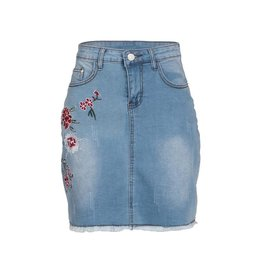 Fashionomics Skirt-Denim w/Floral Emb Side