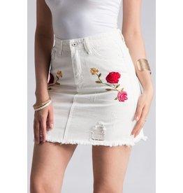Fashionomics Skirt-Floral Rose Emb White Denim