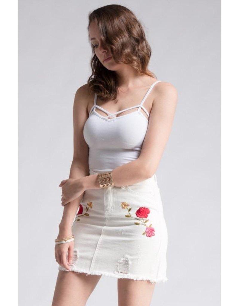 Skirt-Floral Rose Emb White Denim