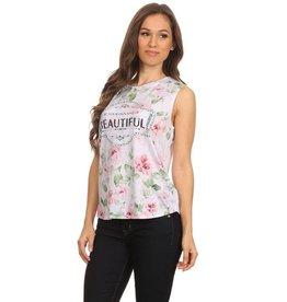 Nylon Apparel T-Shirt-Tank Top Floral Beautiful