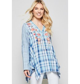 Andree by Unit Shirt-Button Down, 2-Tone Stripe, Checked & Emb Design