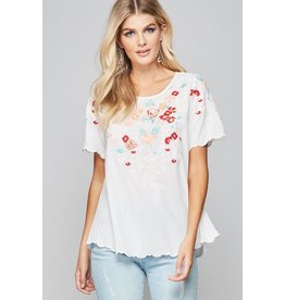 Andree by Unit Top-Scallop Hem & Sleeves, Floral Emb