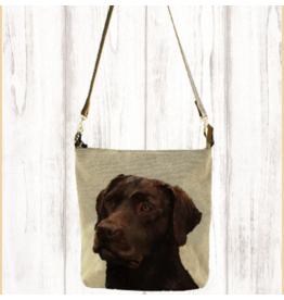 Art Studio Company Crossbody-Leather Strap Canvas-Chocolate Lab