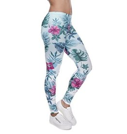 Sihnderella Leggings-Full Leg, Jungle Flowers, Mint, (One Size)