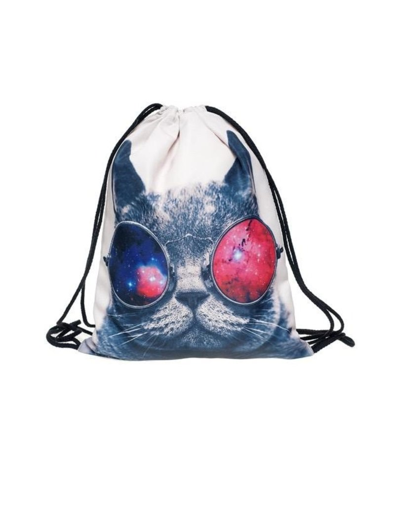 Drawstring Bag-Sunglasses Cat
