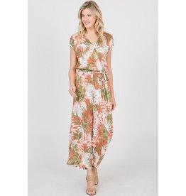Ces Femme Jumpsuit-V-Neck, Tropical Leaf Print