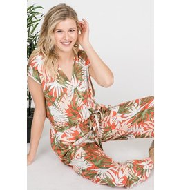Ces Femme Jumpsuit-V-Neck, Tropical Leaf Print