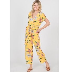 Ces Femme Jumpsuit-V-Neck, Tropical Flower Print