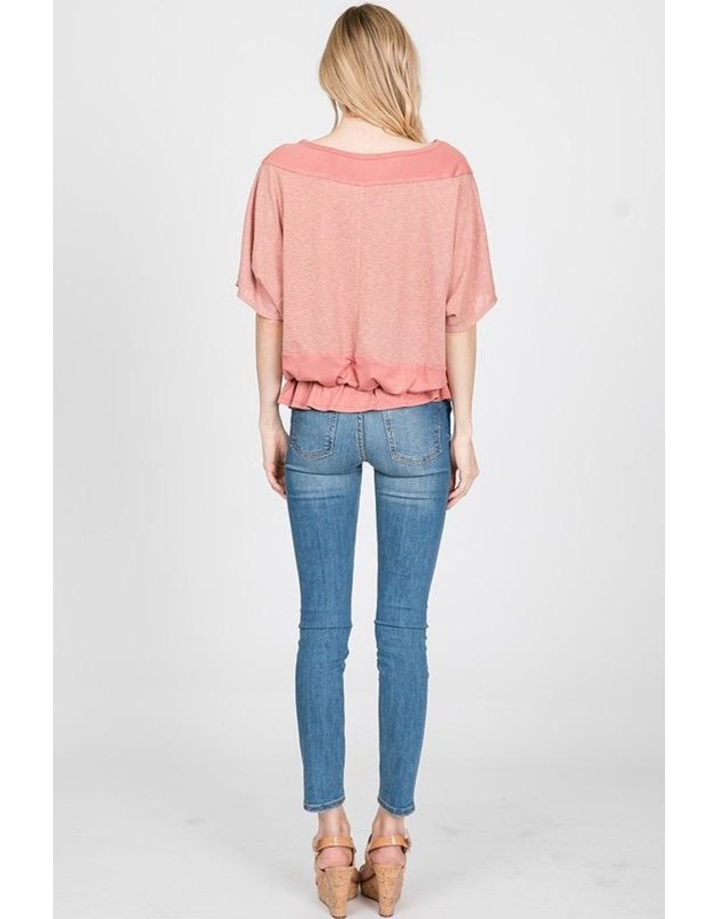 Ces Femme Top-Dolman Sleeves, Ruffled Waist, Solid & Stripes