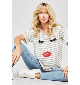 Promesa T-Shirt, Striped Relaxed Fit, Eyes & Lips