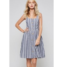 Promesa Dress-Striped Button Down, Fit & Flare