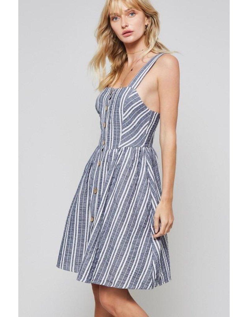 Promesa Dress-Striped Button Down, Fit & Flare