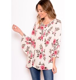 Chris & Carol Top-Woven Floral Tunic 3/4 Sleeves
