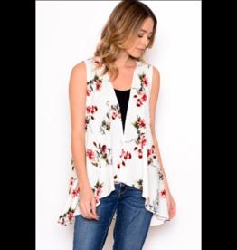 Chris & Carol Vest-Kimono Vest with Floral Print