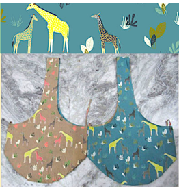 Art Studio Company Cotton Sling Bag-Giraffes (Tan/Blue)