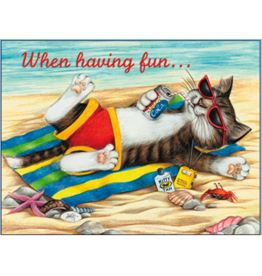 Leanin Tree Birthday Card: Cat Sunbathing on Beach