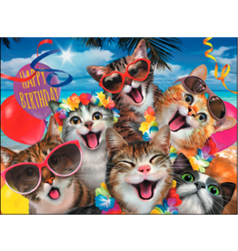 Leanin Tree Birthday Card: Put On A Grin-Happy Cats Selfie