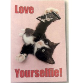 Leanin Tree MAGNET: Love Your Selfie! Black & White Cat
