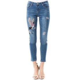 La Ros Jeans-Straight Leg, Emb Crane & Flower