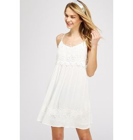 Solution Clothing Dress-Lace & Crochet Camisole, Open Back