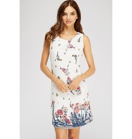 Solution Clothing Dress-Floral Print, Fitted, Sleeveless