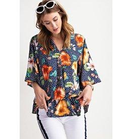 Easel Top-Bell Sleeve, Floral Peach Peplum Waist Blouse