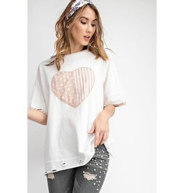 Easel T-Shirt, Distressed, Stripes & Dots Heart Patch