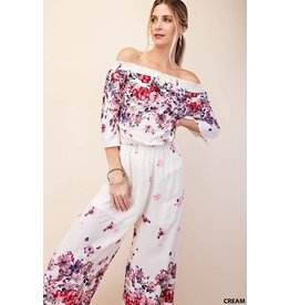 Kori Jumpsuit-Rusched Drop Shoulder w/Capri 3/4 Pants & Flower Print
