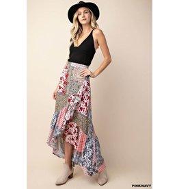 Kori Skirt-Maxi, Boho Patchwork Print