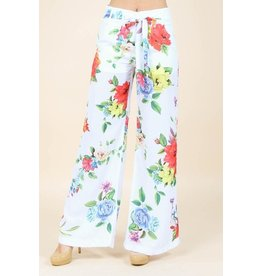 Nylon Apparel Pants-Hi Waisted, Tie Belt, Loose Leg, Floral Print