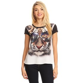 Nylon Apparel T-Shirt-Tiger w/Sunglasses & City Reflection