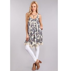 Chris & Carol Dress-Boho Crochet Lace Hem, Ivory, (M)