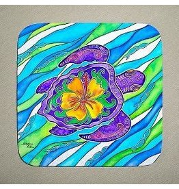 Stephanie Kiker COASTERS-Hibiscus Turtle (SET 4)