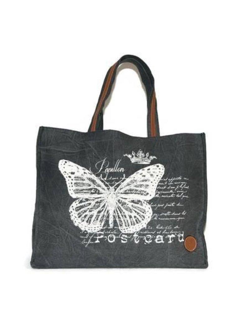 Le Papillon Tote-Vintage Black Papillon Postcard