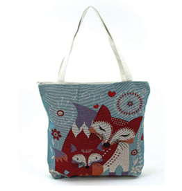 Tote-Woven Fox & Baby